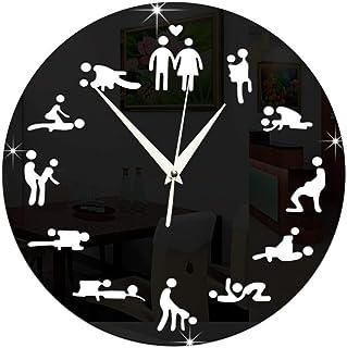 HBK Modern Design Sex Position Mute Wall Clock for Bedroom Wall Decoration Silent Clock Watch Wedding