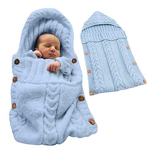 Minetom Saco de Dormir Unisex para Bebés Recién Nacidos Manta para Bebé Carrito de Bebé Blanket Manta para 0 - 12 Meses Azul 72X35 CM
