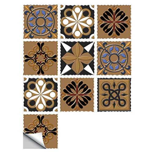 10 pegatinas para azulejos de cocina, impermeables, marroquíes, de vinilo, multifuncionales, extraíbles, para sala de estar, baño, escaleras y decoración del suelo (20 x 20 cm)