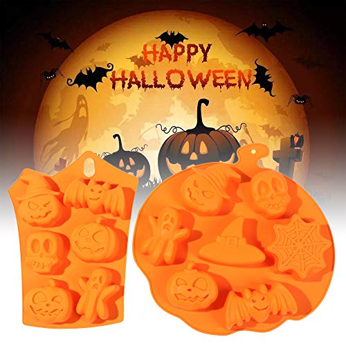 Shikick Halloween Silicone Baking Molds Nonstick Cake Pan with Pumpkin Chocolate Cupcakes Bat Skull Ghost Shape for Kitchen DIY Baking Tools