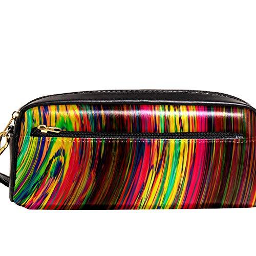 Estuche de gran capacidad para bolígrafos, organizador de bolígrafos, bolsa de papelería, bolsa de cosméticos con compartimentos para niñas, niños y adultos, arte abstracto arcoíris