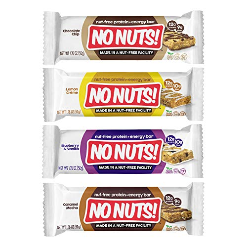 No Nuts! Protein Bars Energy Bars - 100% Nut Free Dairy Free Vegan Protein Bars, Vegan Protein Bars Variety Pack of 4 Sampler, Organic, Kosher, Egg-Free, Non-Gmo & Dairy Free Protein Bars