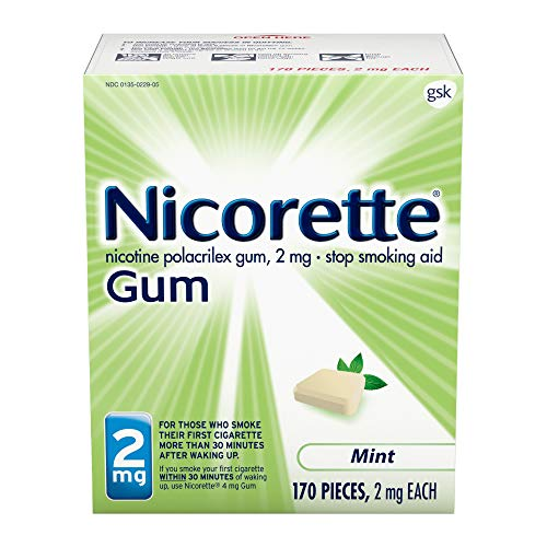 Nicorette 2mg Nicotine Gum to Quit Smoking - Flavored Stop Smoking Aid, Mint, 170 Count (Pack of 1), 170.0, Count, 1