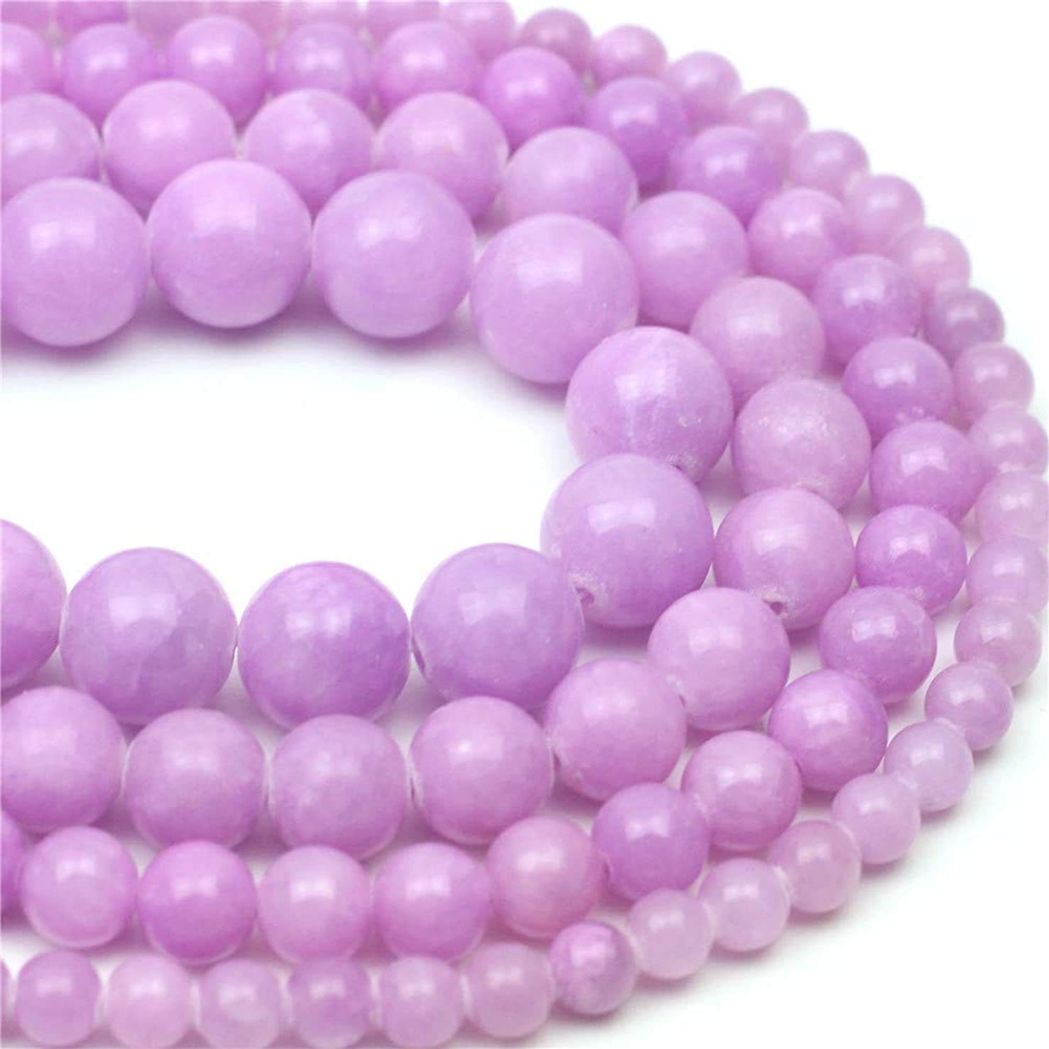 Oameusa 10mm Purple Jade Beads Round Beads Gemstone Beads Loose Beads Agate Beads for Jewelry Making 15