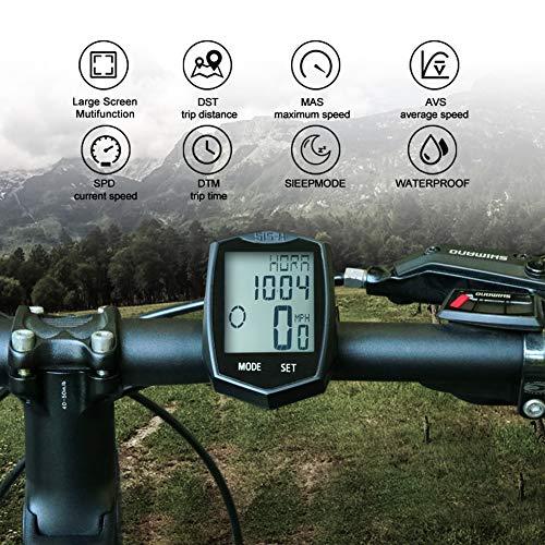 KASTEWILL Fahrradcomputer Drahtlos Wasserdicht, Fahrrad Kilometerzähler Automatische Wake-up 24 Funktionen 5 Sprachen LCD-Hintergrundbeleuchtung Kilometerzähler, Kann in Zwei Autos Verwendet Werden - 2