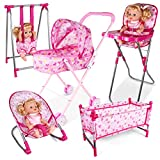 Baby Doll Stroller Sets 5 in 1 Dolls Accessories Bundle Doll Stroller Doll High Chair Bouncer Crib Swing Doll Furniture Nursery Playset Role Pretend Play Toys for Boys Girls above 3 Years (Set of 5)
