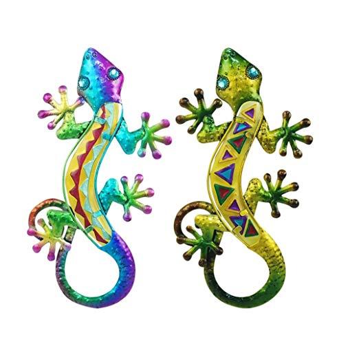SIGRIS Gecko Salamander 2 Stück Schmiedeeisen Metall & Glas blau und grün 31 cm Glücksbringer