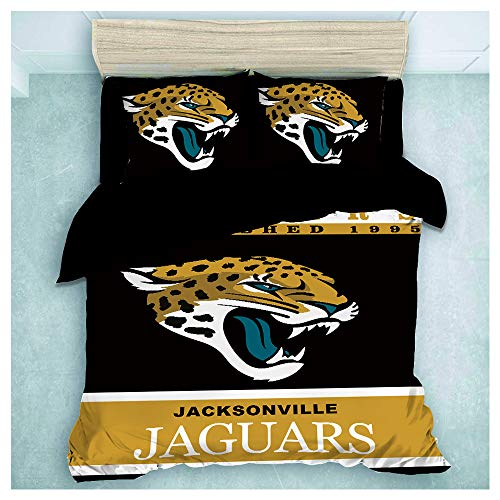 HOXMOMA NFL Bedding Set with New Jacksonville Jaguars Logo, Kids & Adults Microfiber Duvet Cover and 2 Pillowcases, Perfect Bedding for American Football Fans,Black,US 264x228