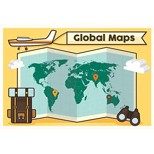 Leowefowa 3,5x2,5m Vinilo Telon de Fondo Viajes mundiales Fondo Mapa Global Plano Viaje al Globo Dibujos Animados Fondos para Fotografia Fiesta Infantil Adulto Niño Photo Studio Props Photo Booth