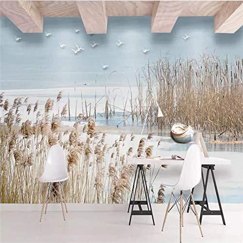 ZJfong aangepast behang eenvoudige mediterrane riet bloemen en vogels bank slaapkamer woonkamer tv achtergrond muurschildering 70 cm.