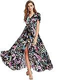 Milumia Women Button Up Floral Print Party Split Flowy Maxi Dress Black Floral Large