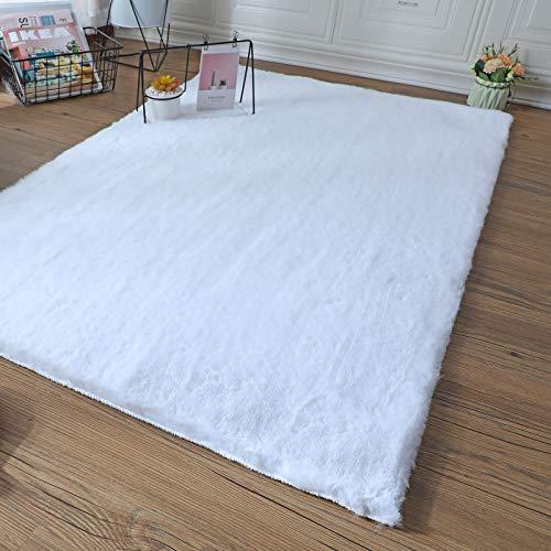 SXYHKJ Peau de Lapin Artificielle synthétique,Cozy Sensation comme véritable Laine Tapis en Fourrure synthétique, Man-Made Laine Tapis de Canapé Coussin (Blanc, 75x120cm)