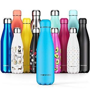 immagine di Proworks Bottiglia Acqua in Acciaio Inox, Senza BPA Vuoto Isolato Borraccia Termica in Metallo per Bevande Calde per 12 Ore & Fredde 24 Ore, Borraccia per Sport e Palestra - 1 Litre - Azzurro Polvere