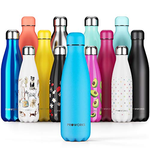 Proworks Performance Stainless SteelSports Water Bottle |Double Insulated Vacuum Flask for 12 HoursHot & 24 HoursCold Drinks - Great for Home, Work, Gym& Travel - 500ml -BPA Free– Powder Blue