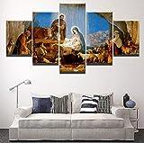 HGYG 5 Pieza Cuadro en Lienzo Nacimiento de Jesús Cristiano Cuadros Modernos Impresión de Imagen Artística Digitalizada Lienzo Decorativo