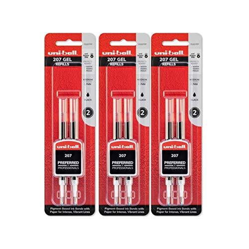 Uni-Ball Signo 207 Gel Pen Refills 07mm Medium Point Black Ink 3 Pack 6 Refills