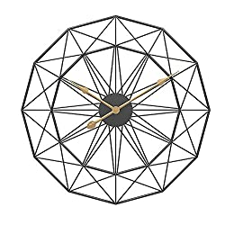 24 Mute Scaleless Large Decorative Wall Clock, Home Minimalist Retro Living Room Wrought Iron Wall Clock Round Decorative Clock Metal Clock Mute, Battery-Driven Clock for Kitchen/Bedroom/Living R