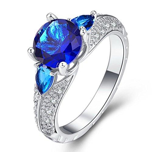 YAZILIND Promise Ring Beautiful Blue Cubic Zirconia Platinum Plated Rhinestone Wedding Engagement para Mujer Tamaño 19,5