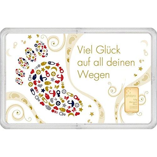 Geschenkkarte Geburt mit Goldbarren 0,5g philoro Feingold 999.9 LBMA zertifiziert