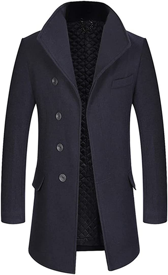 Men Wool Blends Coats Solid Color Large Lapel Overcoat Thick Cotton Padded Wool Coat