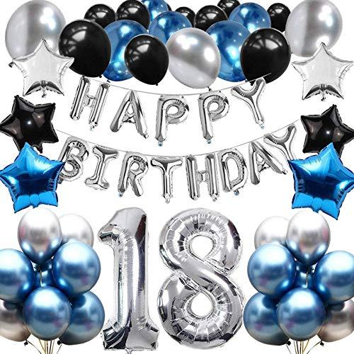 sancuanyi 18e Décorations de Fête en Bleu Noir, 18 Décorations d'anniversaire pour Garçons et Filles 18ème Joyeux Anniversaire Bannière Latex Ballon Fête d'anniversaire de 18 Ans Déco Set