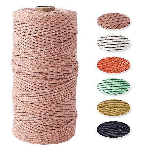 Macrame Cuerda, Rifny Hilo de Algodón Natural de 3 mm x 100...
