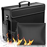 SafeHaven - 2 Fireproof Bag (17'x12'x5.5' and 9'x7') - 1XL and 1 Small Water-Resistant Fireproof Document Bag w/Zipper - Easy to Store and Carry Important Document Holder - Fireproof Money Bag