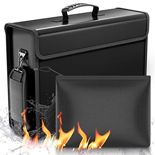 """SafeHaven - 2 Fireproof Bag (17""""x12""""x5.5"""" and 9""""x7"""") - 1XL and 1 Small Water-Resistant Fireproof Document Bag w/Zipper - Easy to Store and Carry Important Document Holder - Fireproof Money Bag"""