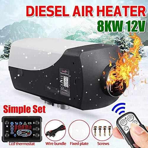 STHfficial autoverwarming, 8000 watt, 8 kW, 12 V, diesel, luchtverwarmer, standverwarming, LCD-thermostaat, monitorschakelaar, afstandsbediening voor vrachtwagen, boot