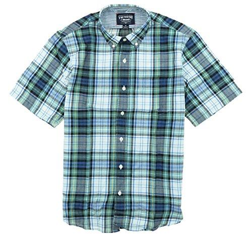 New Ivy Mens Button Down Authentic Indian Madras Cotton Plaid Short Sleeve Shirt (Medium, Green Navy Plaid)