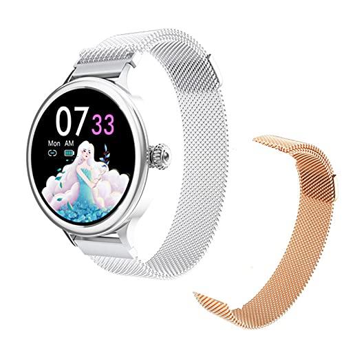 LJMG Smart Watch, Monitor de presión Arterial de Las Mujeres a Prueba de Agua con Impermeable táctil Completo para Android iOS Rastreador de Fitness de Ritmo cardíaco para Mujer,A