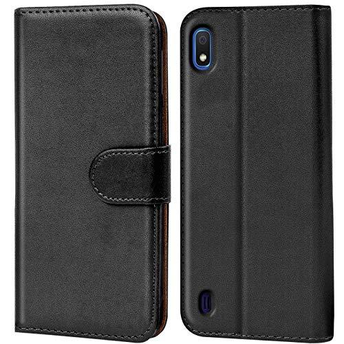 Verco kompatibel mit Samsung Galaxy A10 Hülle, Handyhülle für Galaxy A10 Tasche PU Leder Flip Hülle Brieftasche - Schwarz