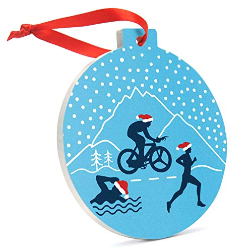 Gone for a Run Triathlon Round Ceramic Ornament | Silhouettes with Santa Hat