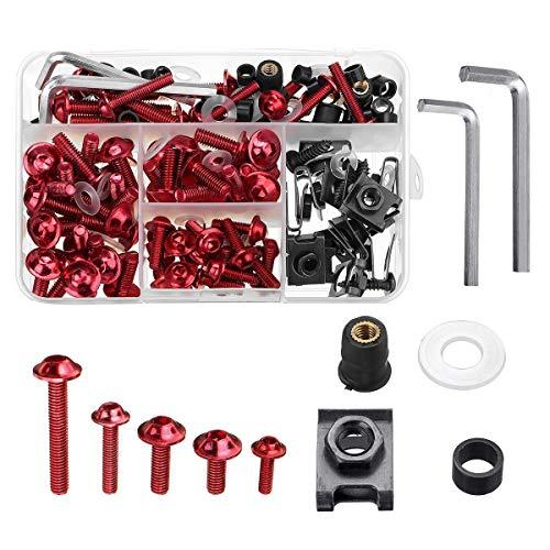 135pcs Schwarz Verkleidungs Bumpers Panel-Schrauben Kit Fastener Clip Schraube for Motorrad (Farbe : Red)