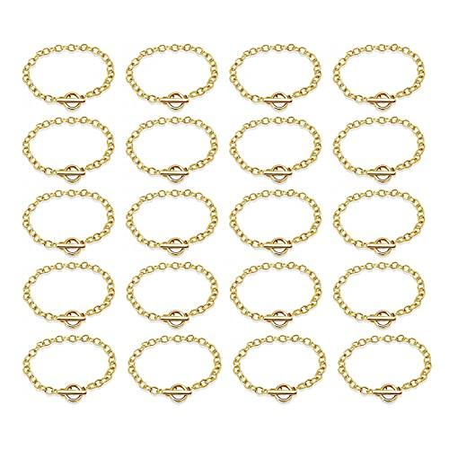 JZK 20 x Pulsera cadena con cierre de palanca de oro para hacer joyas, pulseras de amistad para mujeres y adolescentes unisex, pulsera bisutería para regalos favores de fiesta recuerdo