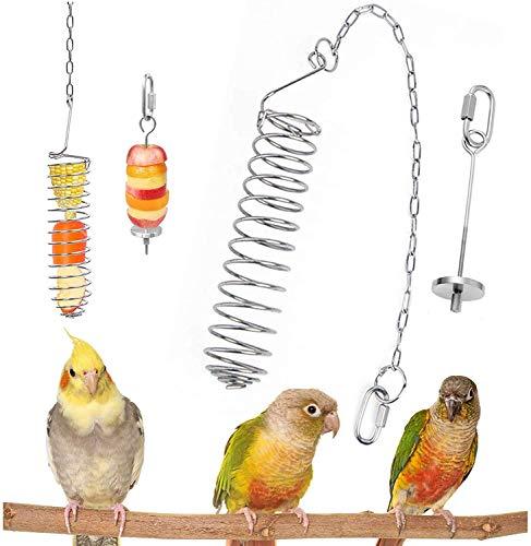 Vegena Alimentador de Pájaros Espiral Acero, Pájaro Porta Fruta, Cesta de Frutas para Pájaros, Titular Fruta Pájaro, Pincho de Loro para Loros, Periquitos, Cacatúas, Canarios