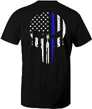 Thin Blue Line Leo Police USA Skull Flag Men's T Shirt