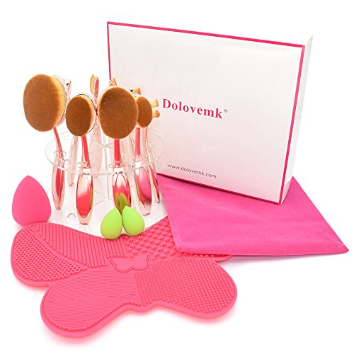 Dolovemk | Lot de pinceaux de maquillage ovale | 10 pcs Pinceaux + Micro Mini Beauté éponge mixeurs +Support Organiseur Pochette Sac + | avec Retail Box pour débutant ou artistes