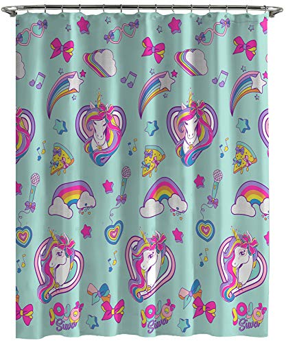 Jay Franco Nickelodeon JoJo Siwa Retro Rainbow Shower Curtain & Easy Care Fabric Kids Bath Curtain Features Unicorn (Official Nickelodeon Product)
