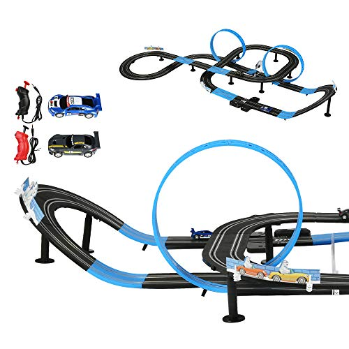 COLOR TREE High-Speed Electric Powered Super Loop Speedway Slot Car Race Track Set with Two Cars for Kids and Family for Dual Racing Adult-Slot Car Set with Adapter and Scored Indicator,28ft