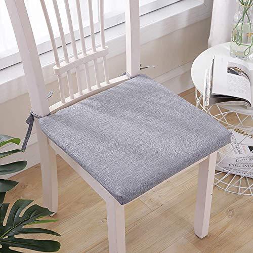 DJ-kussen voor stoel, bekleed van linnen spons, met vierkante strepen, antislip, met veters voor eetkamerstoel, zitkussen voor tuinstoelen 45 x 45 cm (18 x 18 inch)