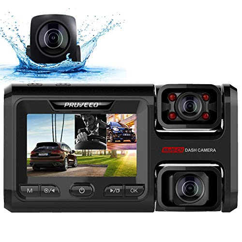 Pruveeo D40 Three and Dual Channel Dash Cam, Front Inside and Rear with Backup Camera, Dash Camera...