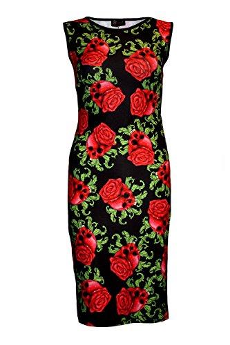 betoverende schedel rozen gotische bodycon pruik stijl jurk