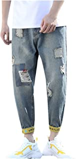 Large Size Straight Men's Casual Jeans Loose Classic Hole Trousers New Desigh Retro Cool Long Pants