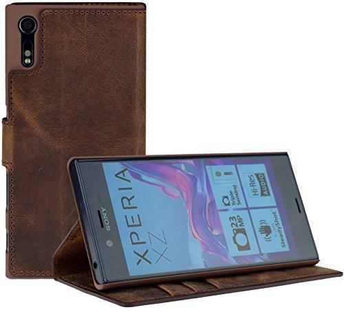 Suncase Book-Style (Slim-Fit) für Sony Xperia XZ | Sony Xperia XZs Ledertasche Leder Tasche Handytasche Schutzhülle Hülle Hülle (mit Standfunktion & Kartenfach) antik coffee