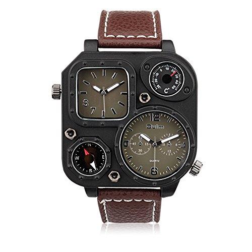 iLove EU Herren Armbanduhr Japanisches Quarz Analog Kompass Doppel Zeitzonen Quadrat Freizeit Uhr mit Kaffee Zifferblatt und Leder Armband