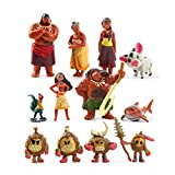 EASTVAPS 12 Pcs / Ensemble Moana Princesse Jouet Collection De Figurines Action Action PVC Collection Waialiki Maui Heihei
