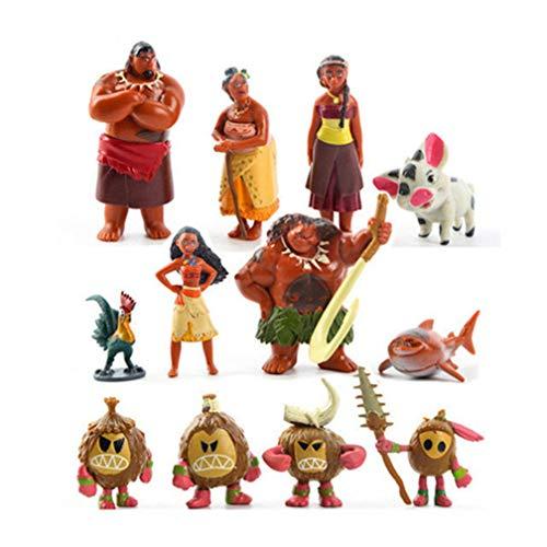 EASTVAPS 12 Unids / Set Moana Princesa Juguete Waialiki Maui Heihei Aventura PVC Figuras de Acción Colección Juguete