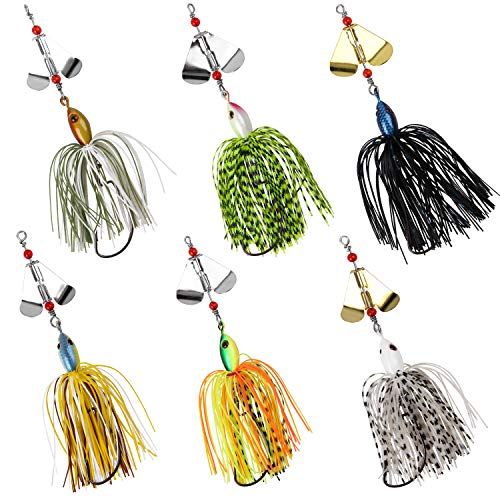 SILANON Fishing Buzzbait Lures Bass Spinnerbait Kit Topwater Buzz Bait Multicolor Swimbait Metal Jig Lure for Bass Pike Trout Fishing