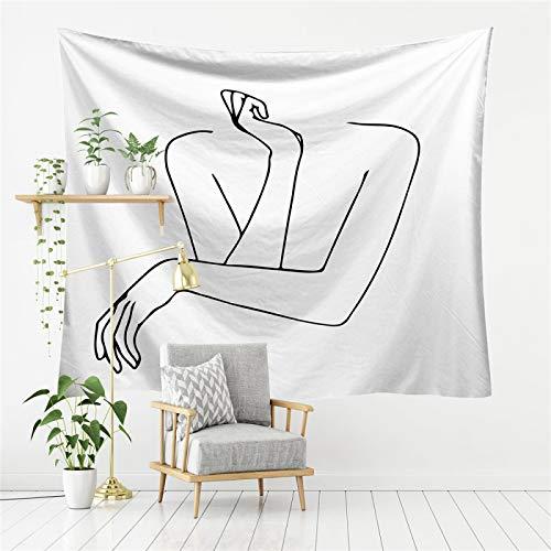 DHHY Tapiz Simple Pintado A Mano, Trazos Simples De Personajes, Tela Impresa para Colgar En La Pared, Decoración del Hogar para Colgar En La Pared200*150cm